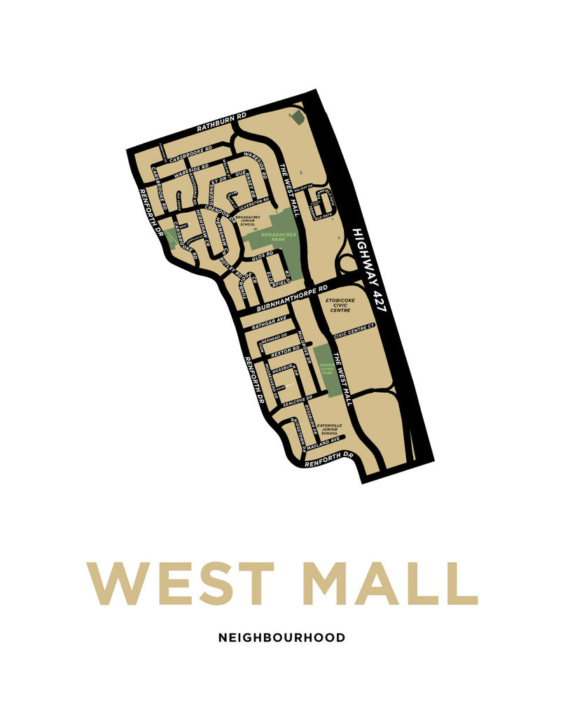 West Mall Neighbourhood Map Print