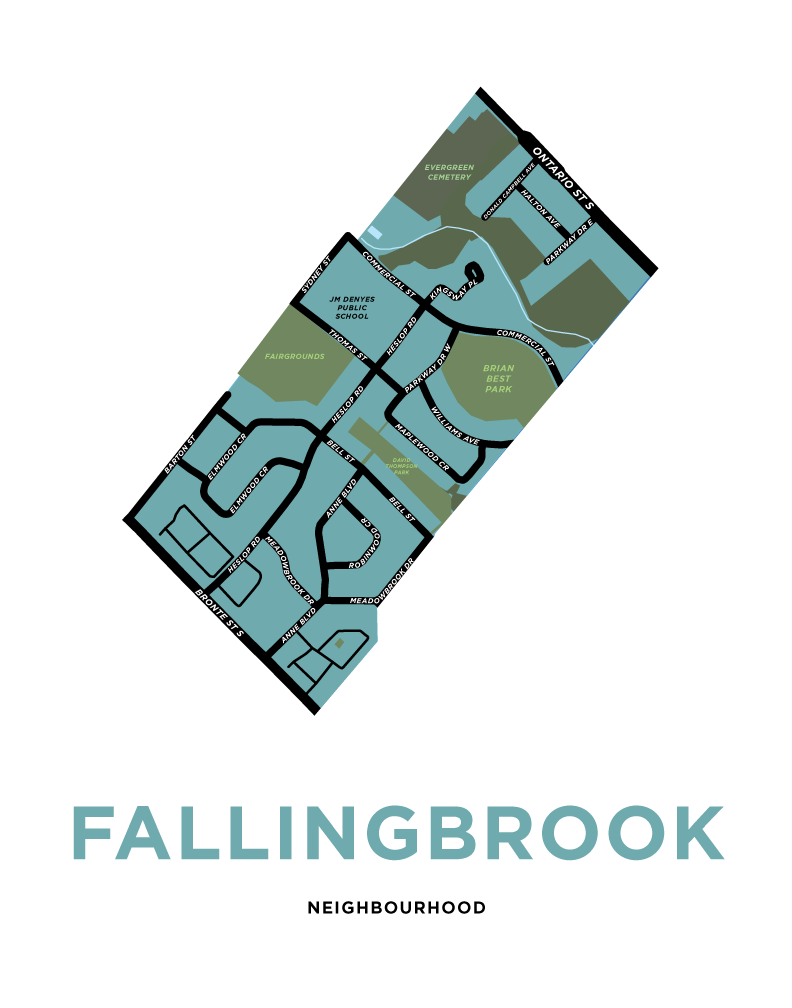 Fallingbrook Neighbourhood Map Print