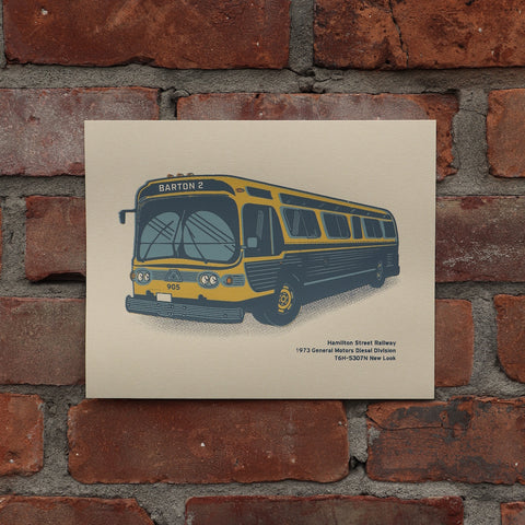 "8x10 Print of an old Hamilton ""Fishbowl"" style bus (GM New Look), painted in black and gold as was the style through most of the 1970's and into the 1980's"