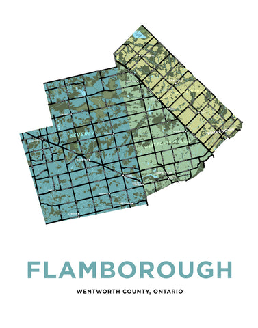 Townships of Flamborough Map Print