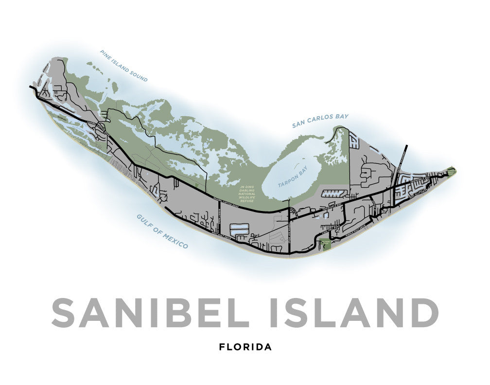 Sanibel Island Map Print (Custom Grey)