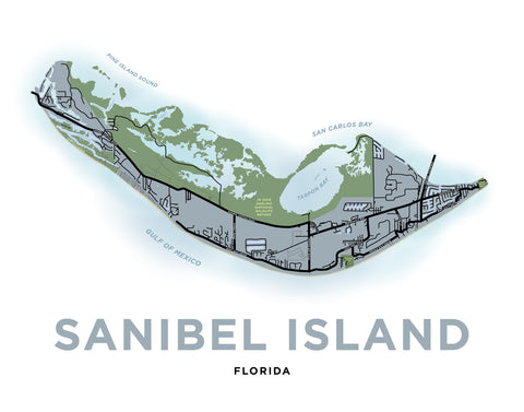 Sanibel Island Map Print (Florida)