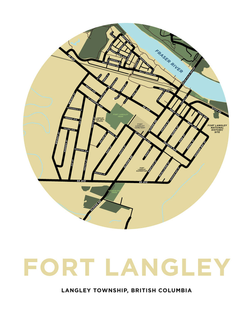 Fort Langley Map Print