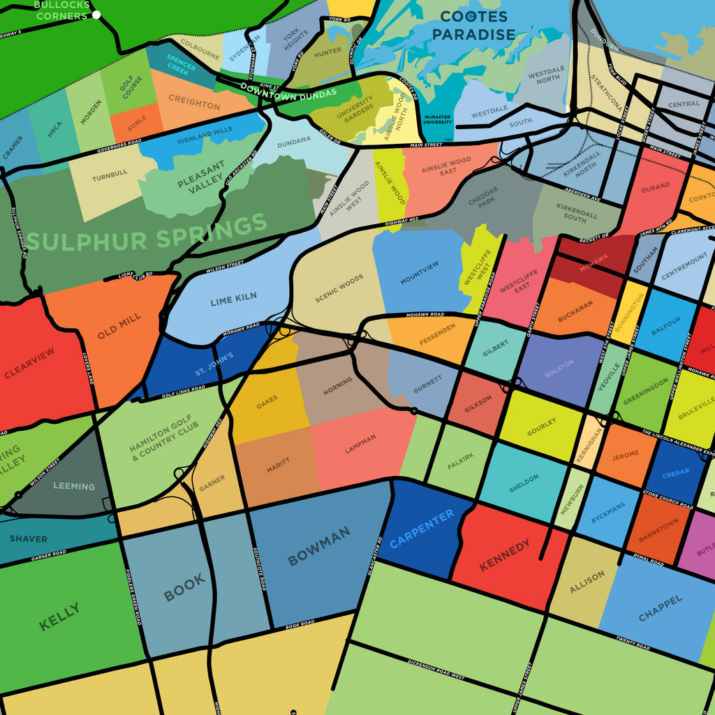 Hamilton Neighbourhoods Map Large Version Jelly Brothers