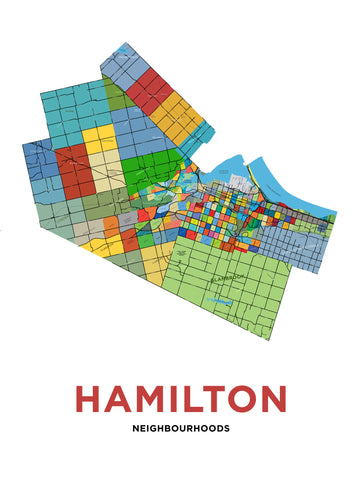 Hamilton Neighbourhoods Map - Large Version