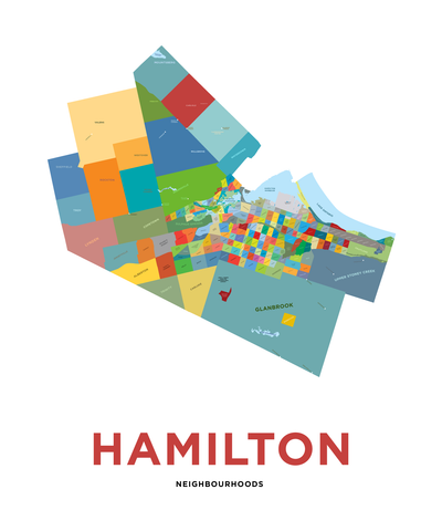 Hamilton Neighbourhoods Map Print