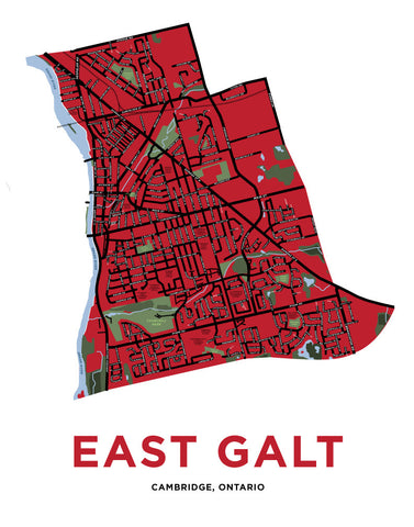 Galt East Map Print (Cambridge)