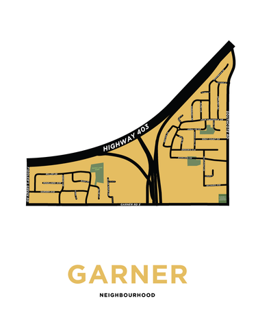 Garner or Harmony Hall Map Print