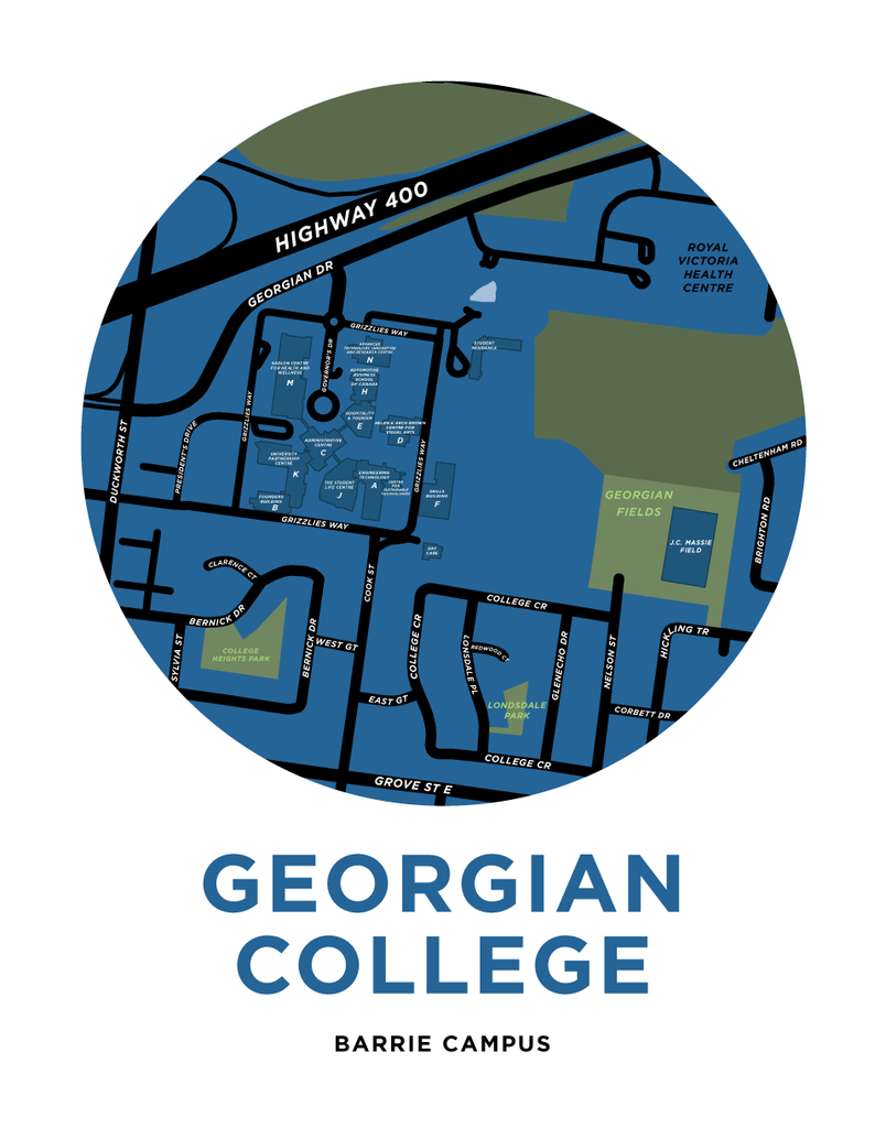 Georgian College Map Print (Barrie Campus)