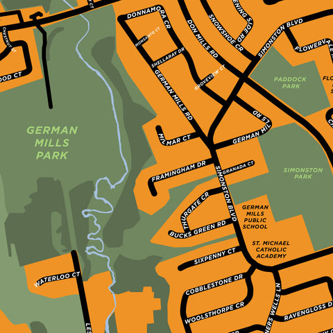 German Mills Neighbourhood Map Print
