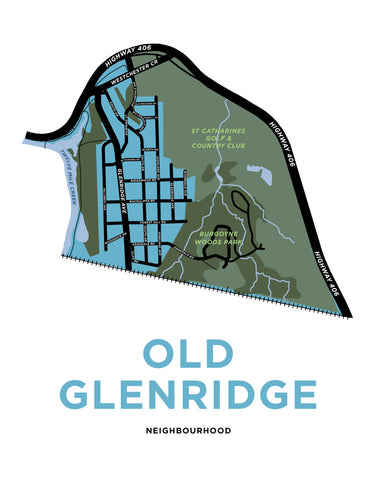 Old Glenridge Neighbourhood Map Print