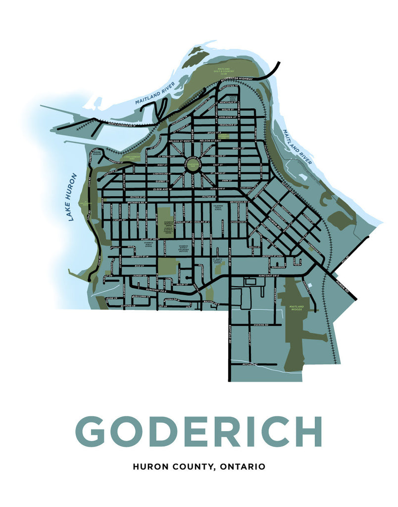 Goderich Ontario Map Goderich Map Print – Jelly Brothers