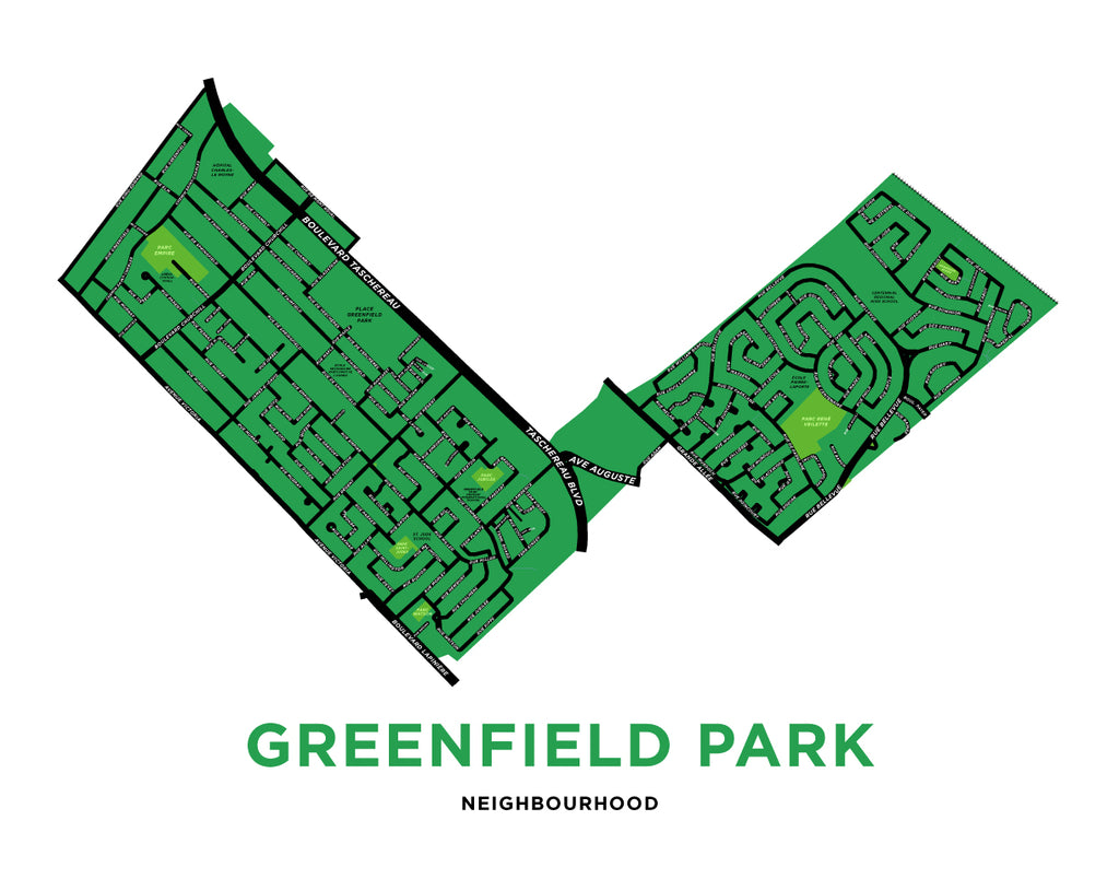Greenfield Park Neighbourhood Map Print
