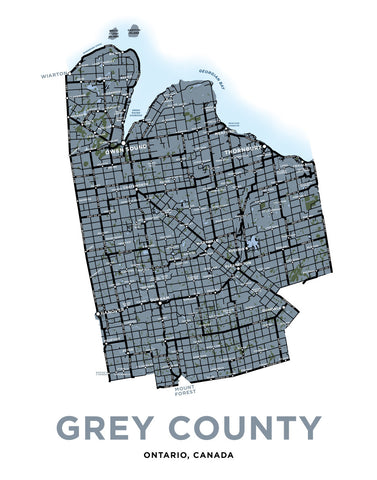 Grey County Map Print.