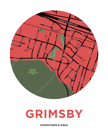 Downtown Grimsby Map Print