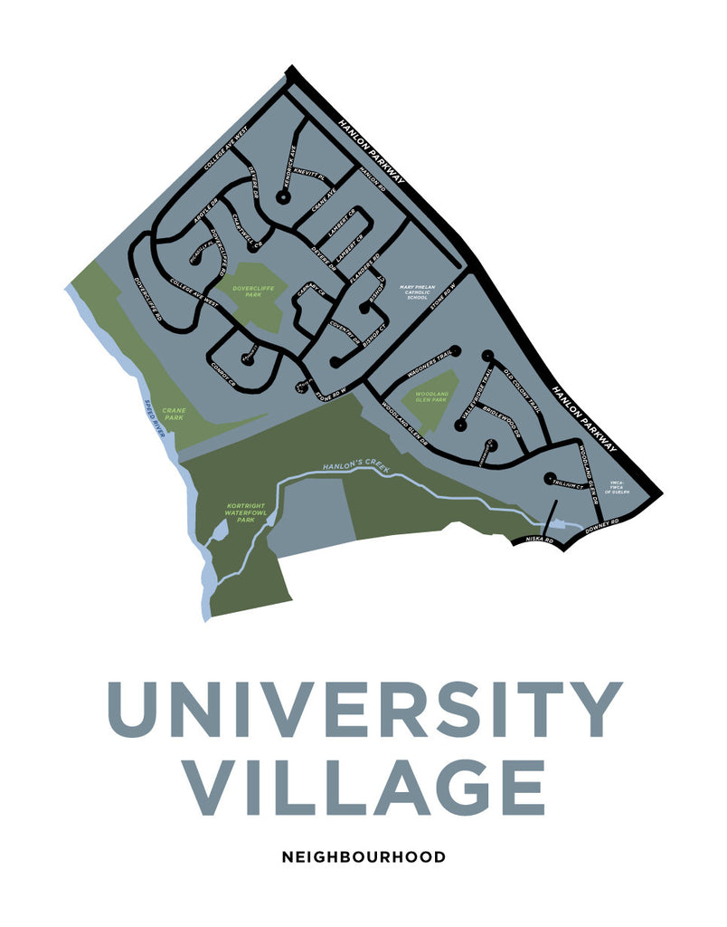 University Village Neighbourhood Map Print