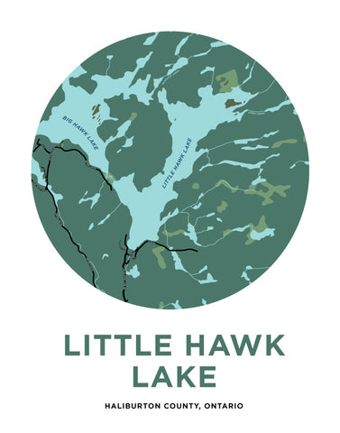 Little Hawk Lake Map Print