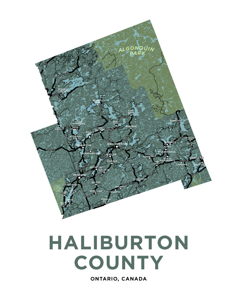 Haliburton County Map Print
