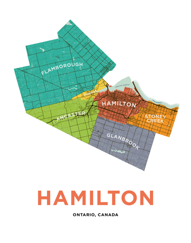 Hamilton Municipalities Map Print
