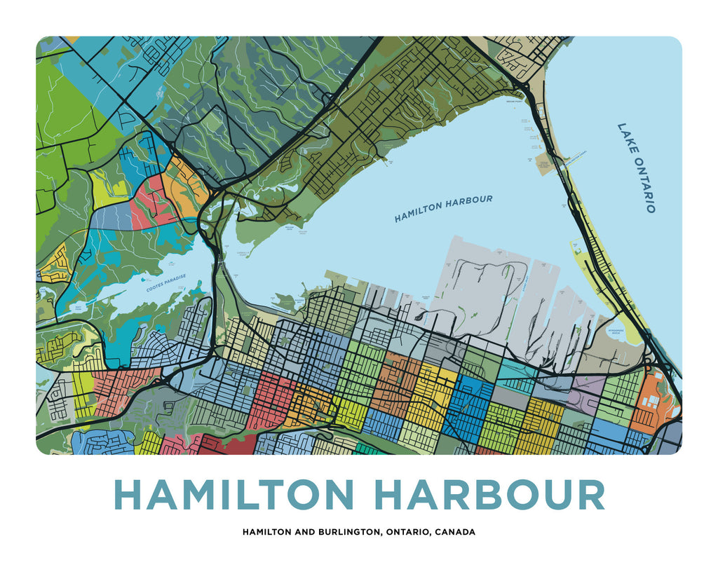 Hamilton Harbour Map Print Jelly Brothers