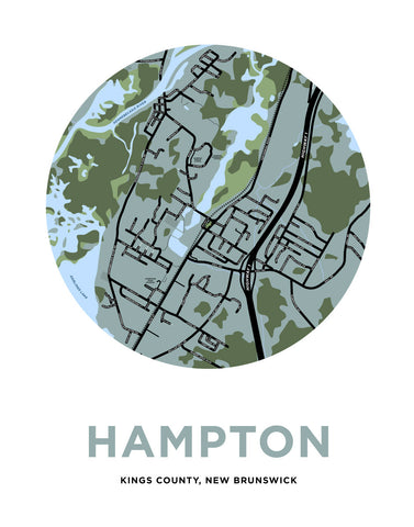 Hampton, New Brunswick Map Print