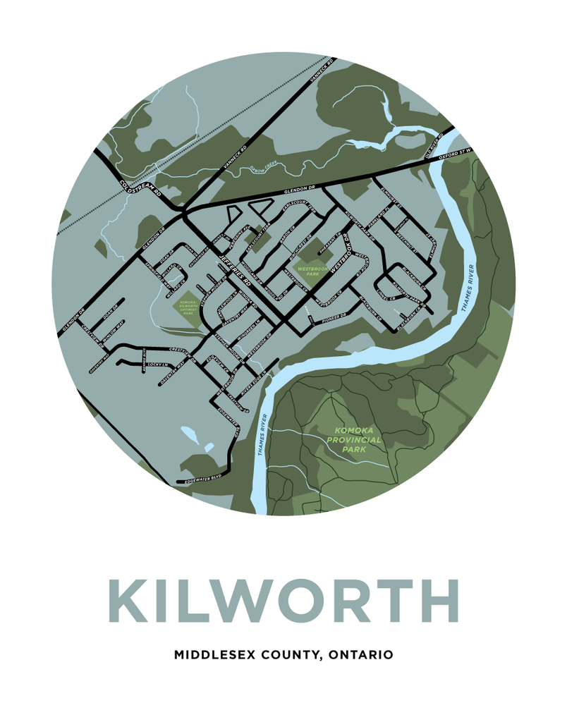 Kilworth Map Print