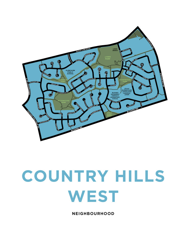 Country Hills West Neighbourhood Map Print