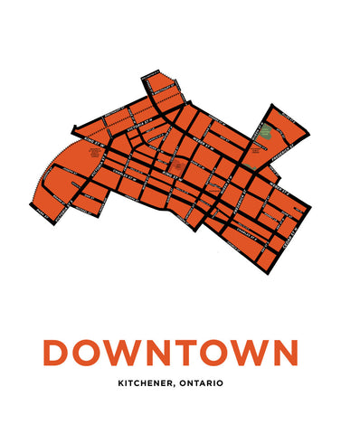 Downtown Kitchener Map Print
