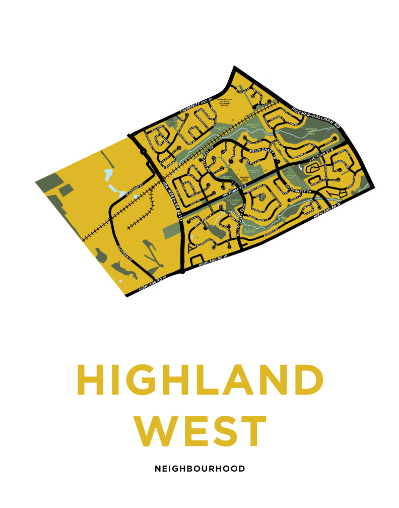 Highland West Neighbourhood Map Print