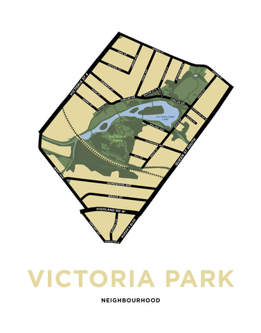 Victoria Park Neighbourhood Map Print