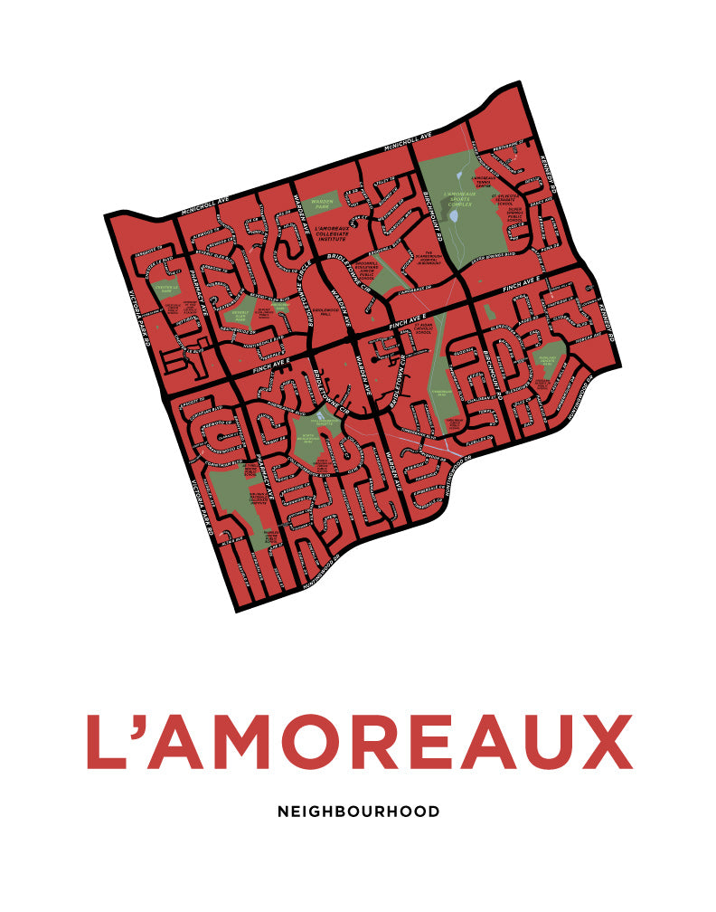 L'Amoreaux Neighbourhood Map Print