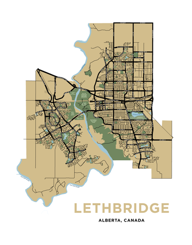 Lethbridge Map Print