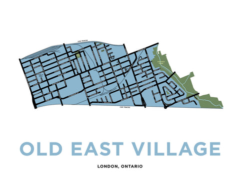 East London Neighbourhood Map Print