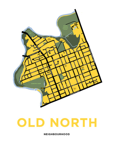 Old North Neighbourhood Map Print