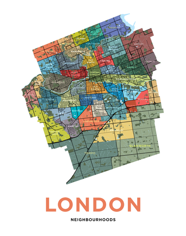 London Neighbourhoods Map Print - Simple Version