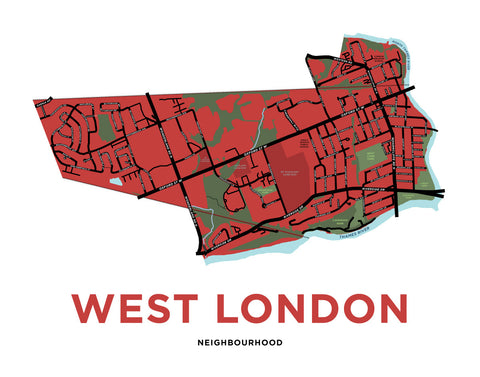 West London Neighbourhood Map Print