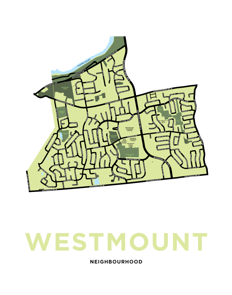 Westmount Neighbourhood Map Print