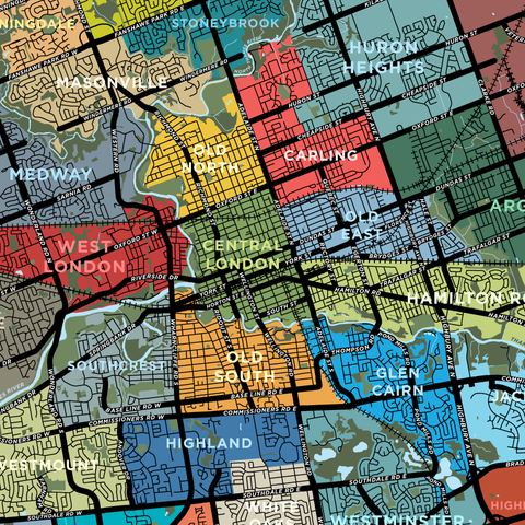 London Neighbourhoods Map Print - Detailed Version