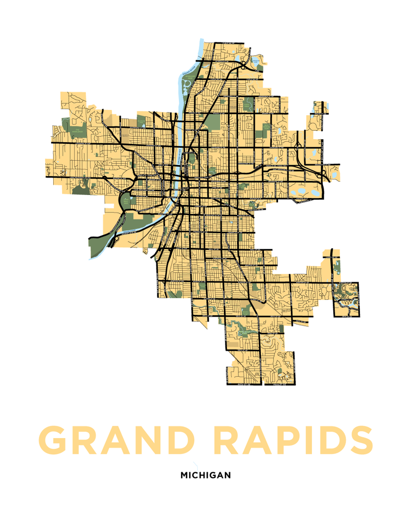 Grand Rapids, Michigan Map Print