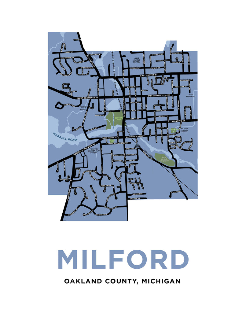 Milford Michigan Map Print