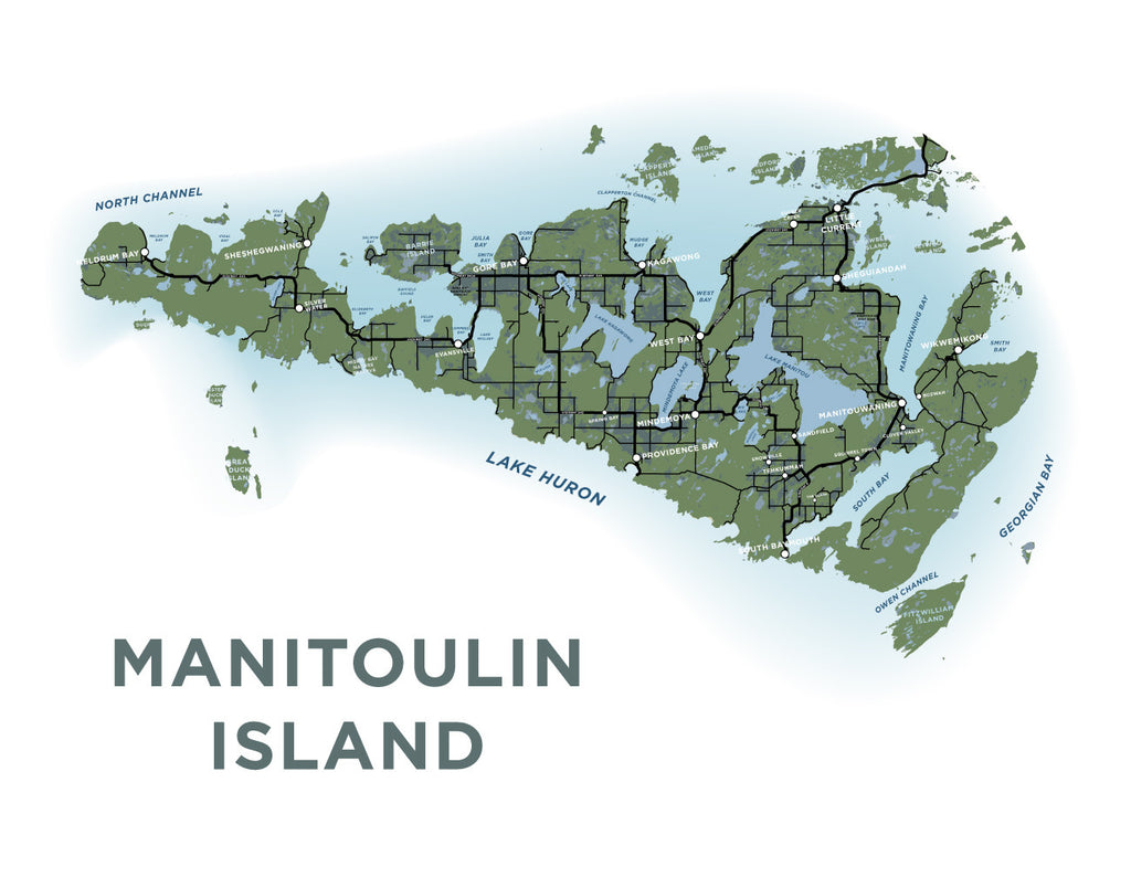 Detailed Map Of Manitoulin Island Manitoulin Island Map Print – Jelly Brothers
