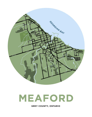 Map Print of Meaford, Ontario