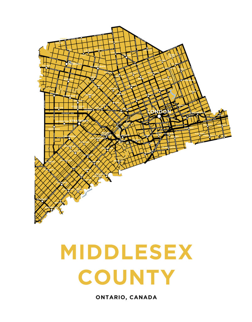 Middlesex County Map Print