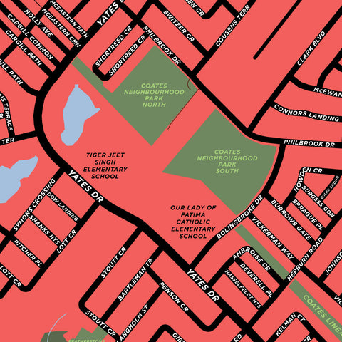 Coates Neighbourhood Map Print