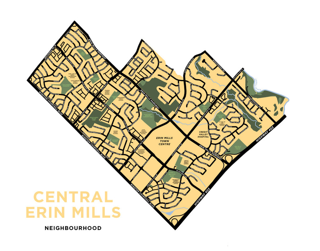 Central Erin Mills Neighbourhood Map Print