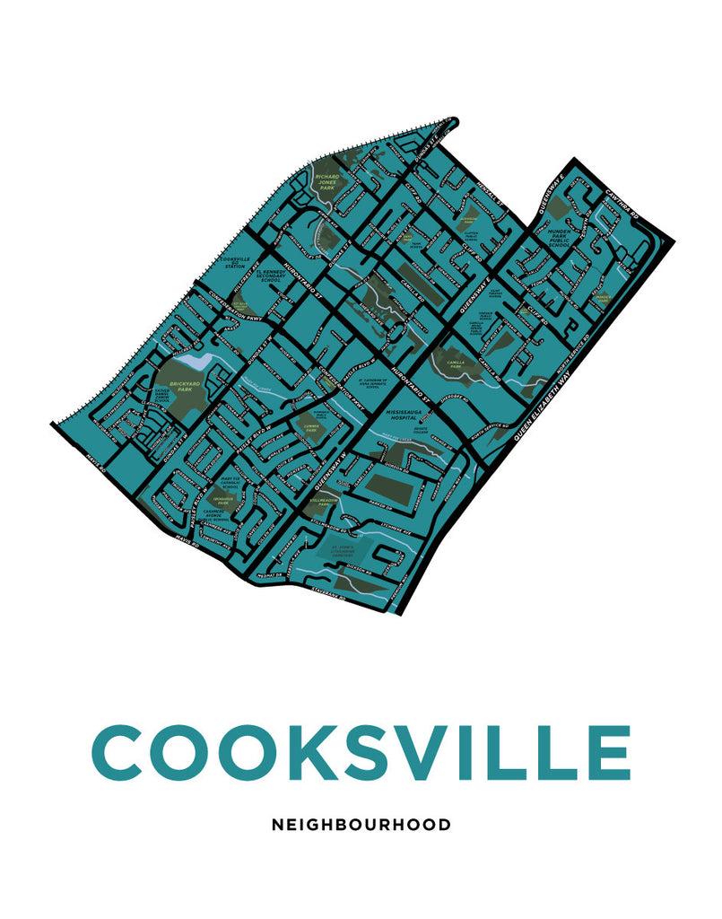 Cooksville Neighbourhood Map Print