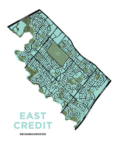 East Credit Neighbourhood Map Print