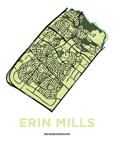 Erin Mills Neighbourhood Map Print