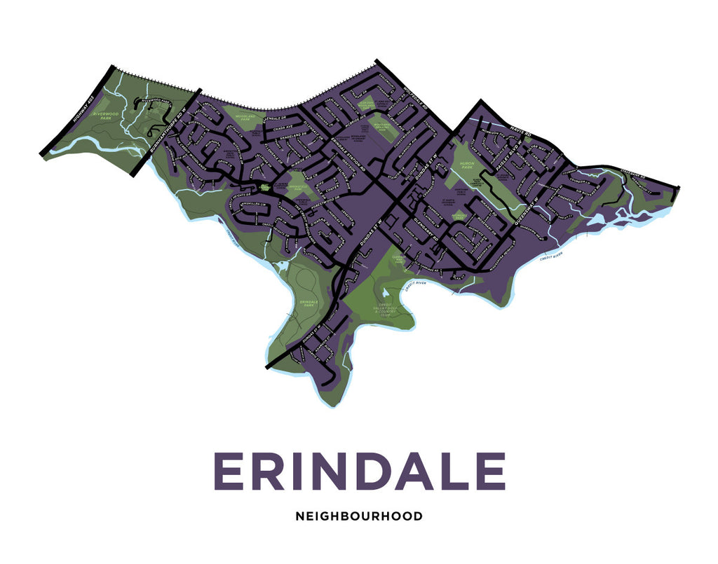 Erindale Neighbourhood Map Print