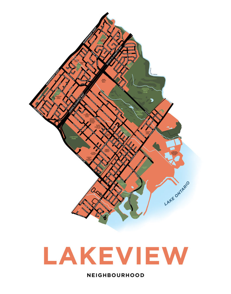 Lakeview Neighbourhood Map Print